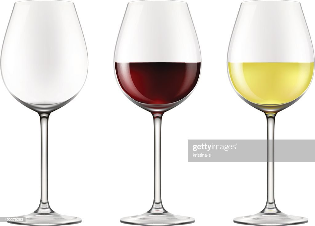 3 wine glasses, one empty & 2 with red and white wine