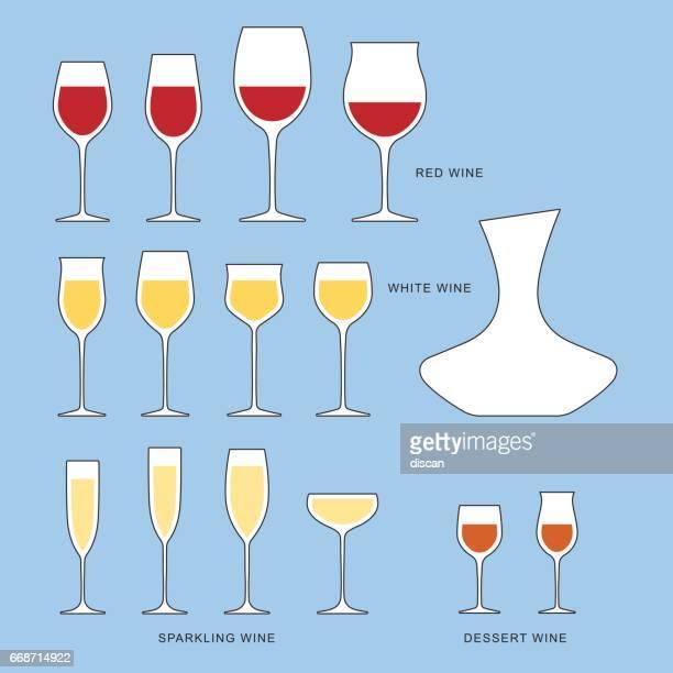 Wine glasses types - Illustration