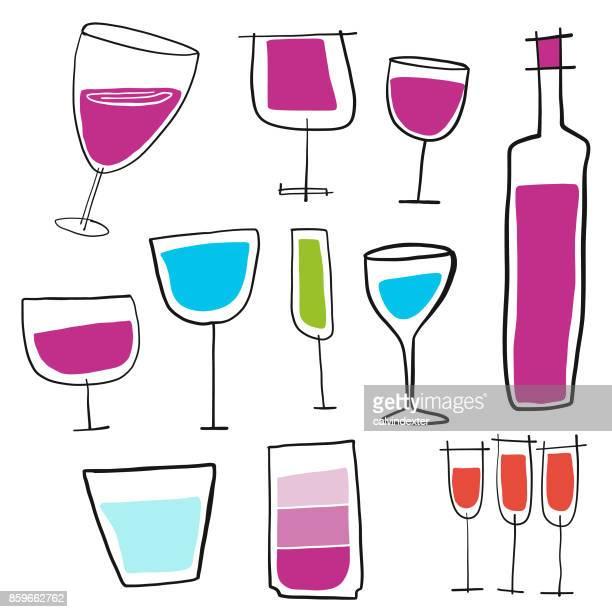ilustraciones, imágenes clip art, dibujos animados e iconos de stock de copas de vino - botella de vino