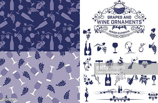 wine grapes design elements and patterns - grape stock illustrations