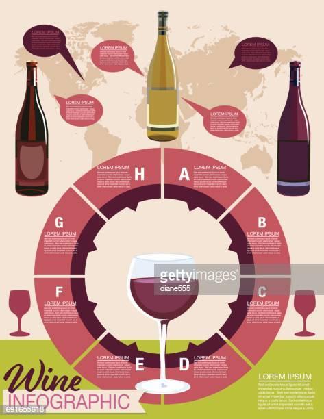 ilustraciones, imágenes clip art, dibujos animados e iconos de stock de infografía de uvas - botella de vino