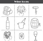 Wine hand drawn icons