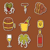 Wine hand drawn stickers