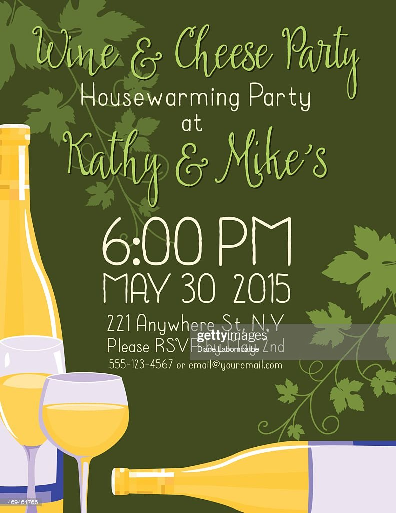 Wine Housewarming Party Invitation Template Vector Art | Getty Images