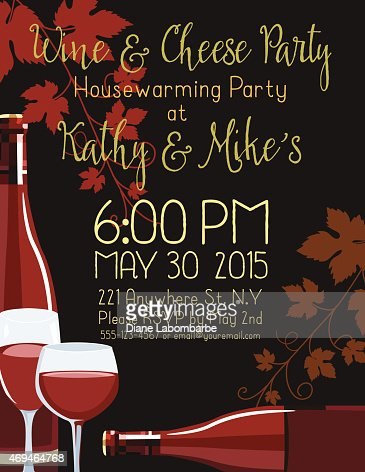 Wine cheese housewarming party invitation template vector art similar images stopboris Image collections