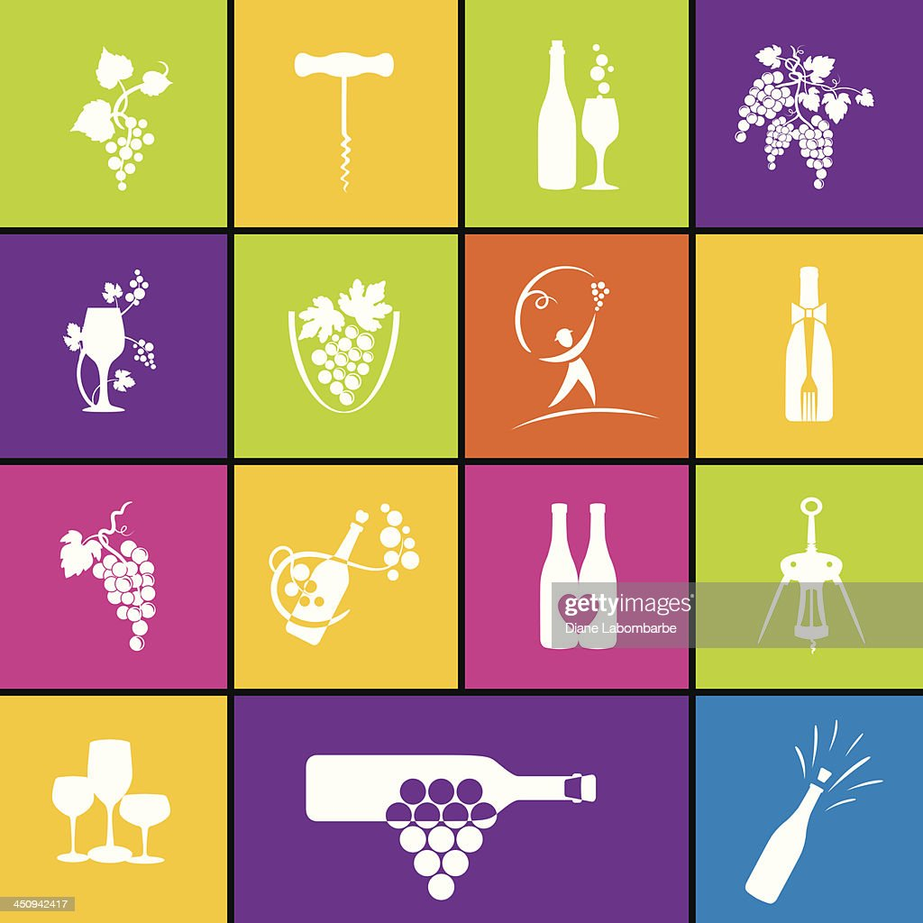 Wine Icon Set In Bold Colors
