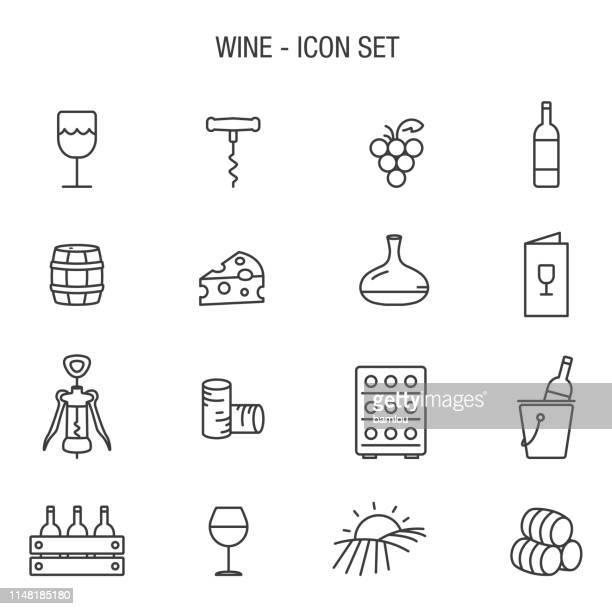 wine icon set outline grey basic - cork stopper stock illustrations, clip art, cartoons, & icons