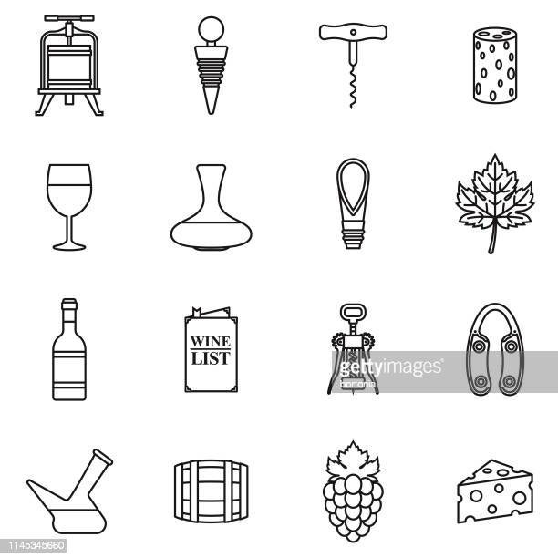 stockillustraties, clipart, cartoons en iconen met wijn icon set - food and drink