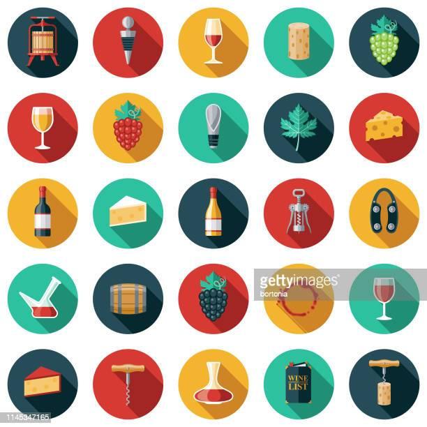 wine icon set - cork stopper stock illustrations, clip art, cartoons, & icons