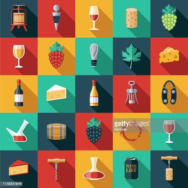 illustrazioni stock, clip art, cartoni animati e icone di tendenza di wine icon set - flat design