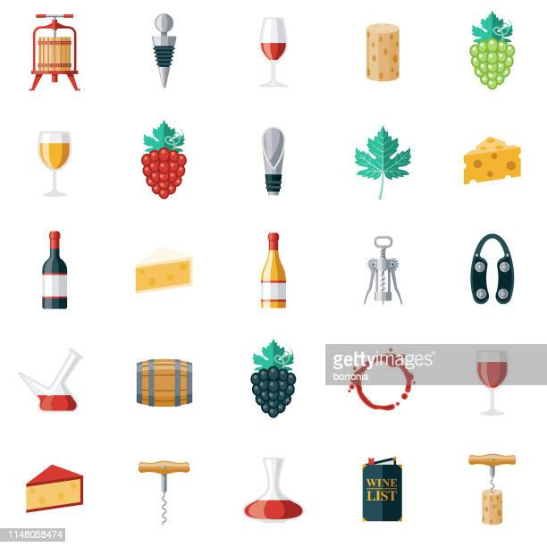 wine icon set - red wine stock illustrations, clip art, cartoons, & icons