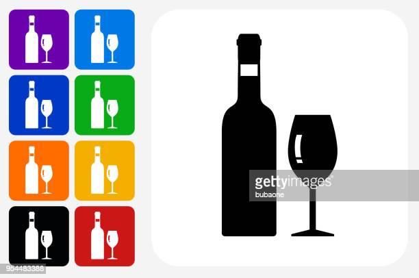 stockillustraties, clipart, cartoons en iconen met wijn pictogram vierkante knop set - wijnfles