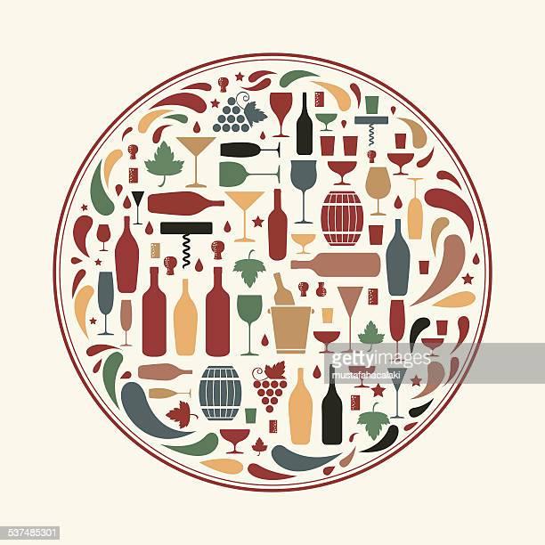 Iconos de vinos en forma de círculo