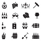 Wine Icons. Black Flat Design. Vector Illustration.