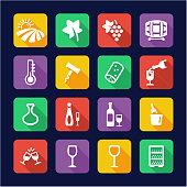 Wine Icons Flat Design