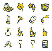 Wine Icons Freehand 2 Color