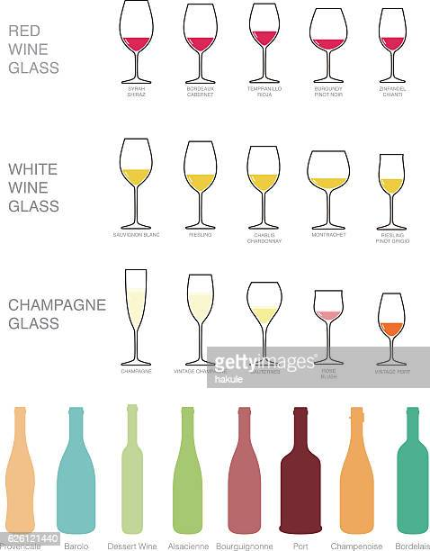 wine icons set. wine bottles and glasses for wine. - red wine stock illustrations, clip art, cartoons, & icons