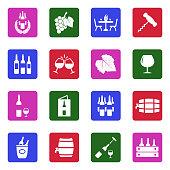 Wine Icons. White Flat Design In Square. Vector Illustration.