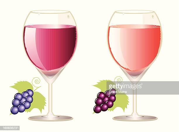 wine in glasses - vector - plant attribute stock illustrations, clip art, cartoons, & icons