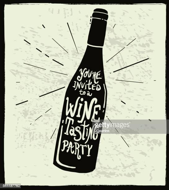 ilustraciones, imágenes clip art, dibujos animados e iconos de stock de vino invitación etiqueta de botella de vino diseño de letras a mano - botella de vino