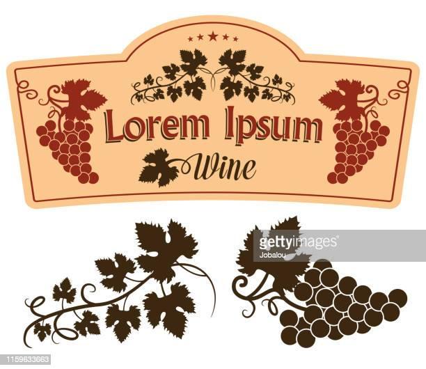 wine label design elements - grape stock illustrations
