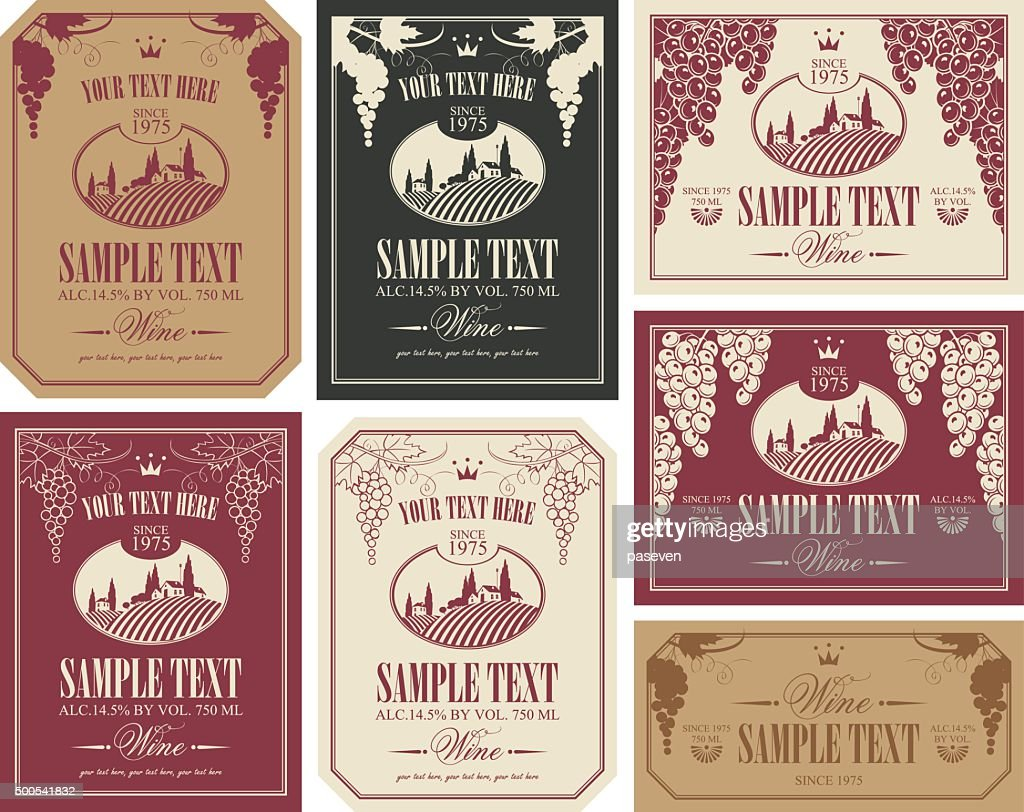 wine label set