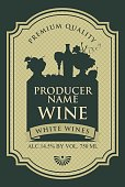 wine label with the silhouette of a still life