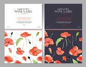 Wine label with watercolor red poppy. Vector template.