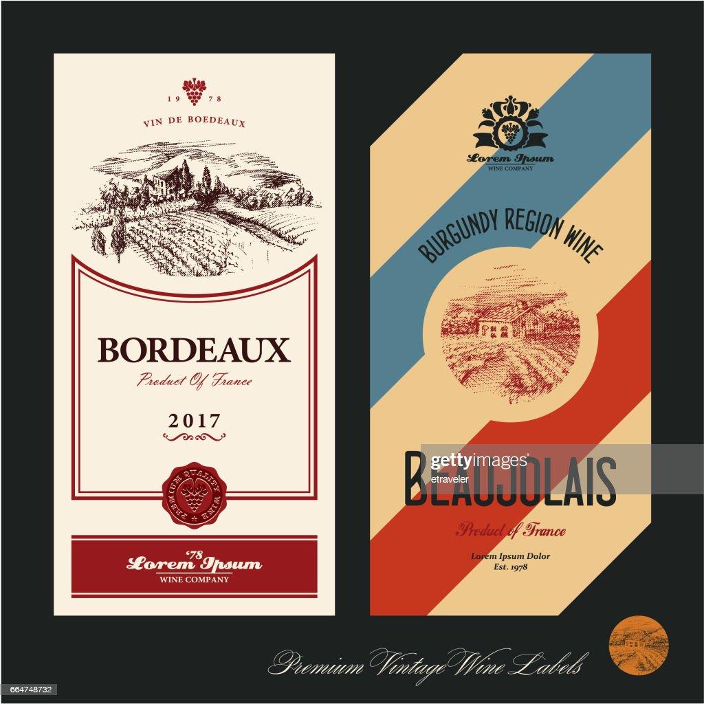 Wine labels. Vineyard