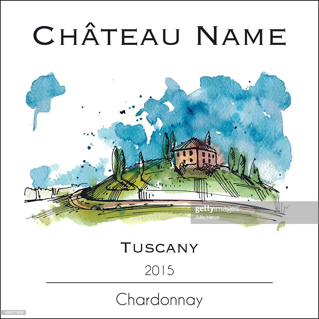 Wine lable with a watercolor illustration of Tuscany