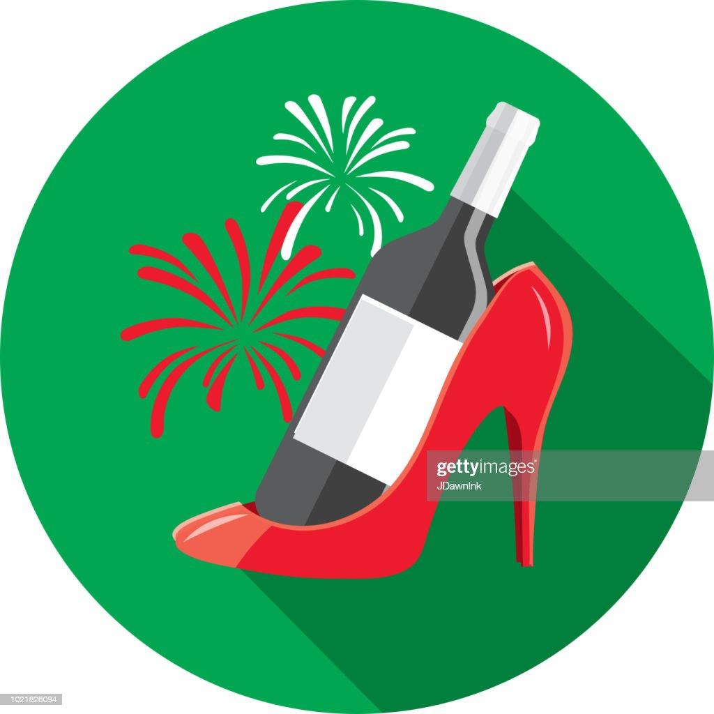 Wine ladies celebration Flat Design themed Icon Set with shadow : stock illustration