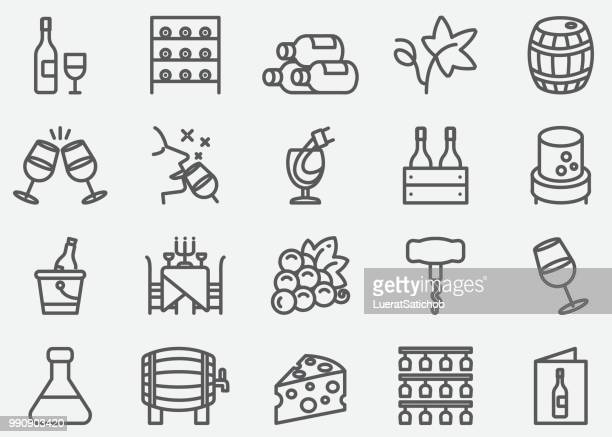 stockillustraties, clipart, cartoons en iconen met wijn lijn pictogrammen - food and drink
