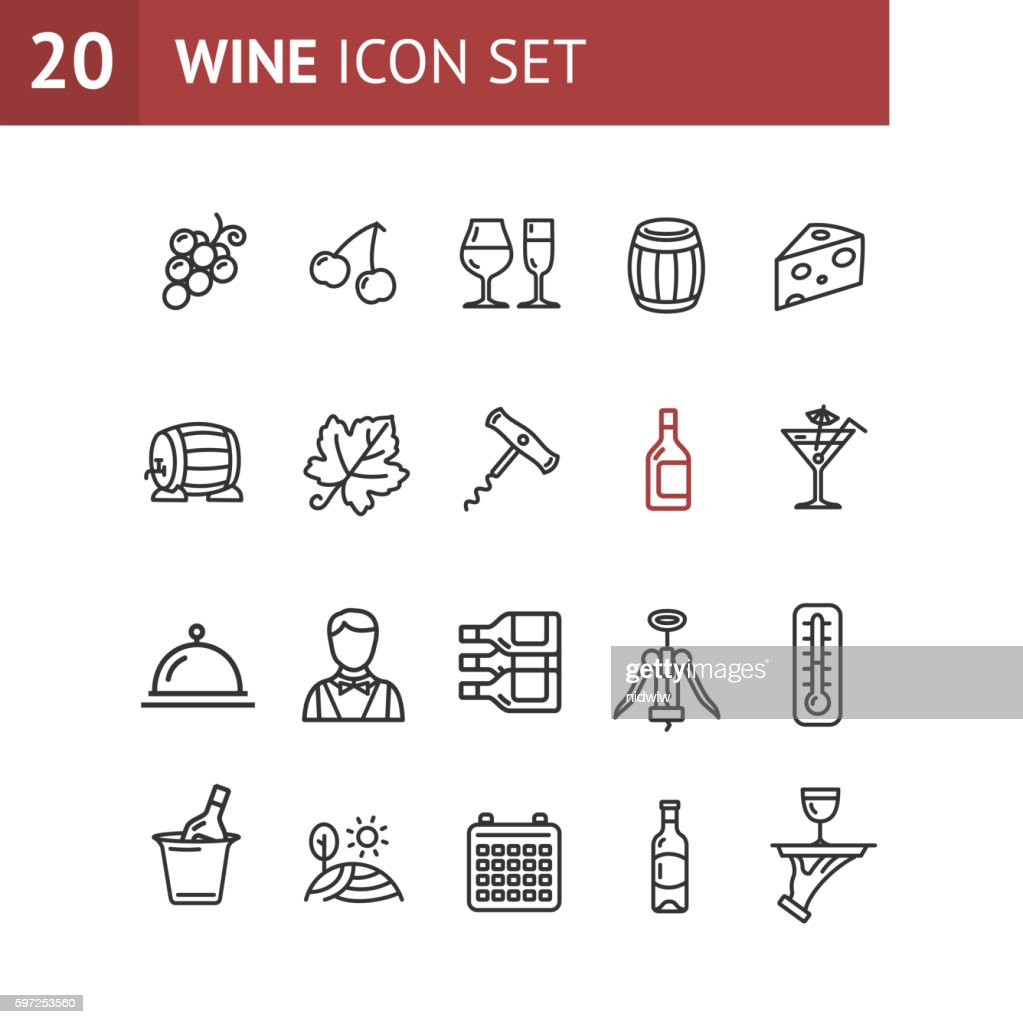 Wine Making Drink Icon Set. Vector