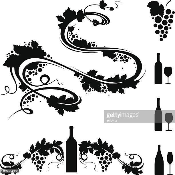 ilustraciones, imágenes clip art, dibujos animados e iconos de stock de motivos de vinos - enredadera