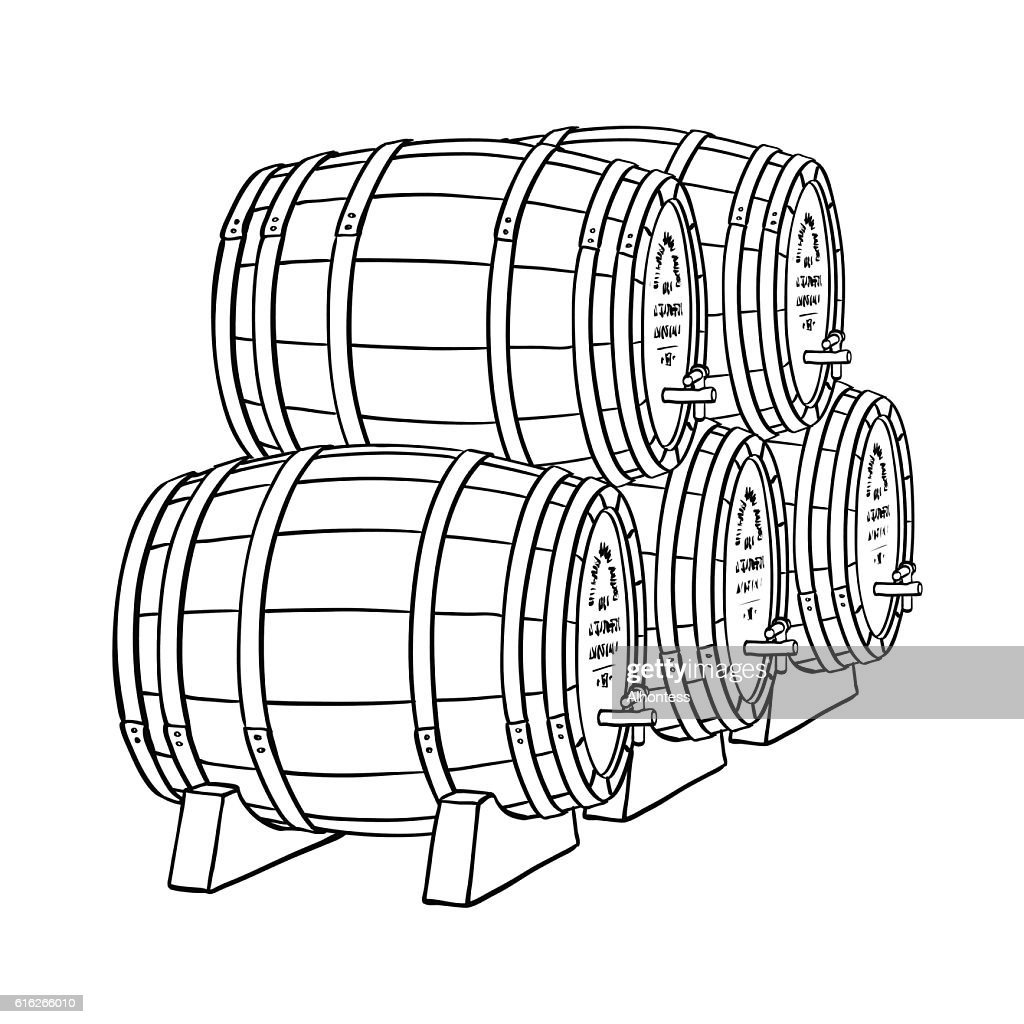 Wine or beer barrels : Vector Art