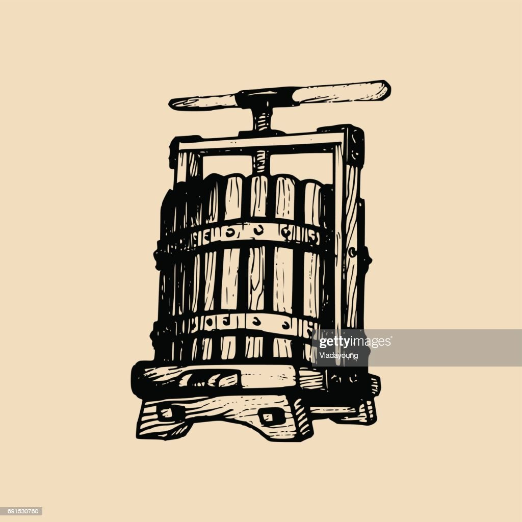 Wine press illustration. Vector alcoholic beverages label. Hand sketched vinemaking element in engraved style.