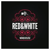 wine  red and white label design background