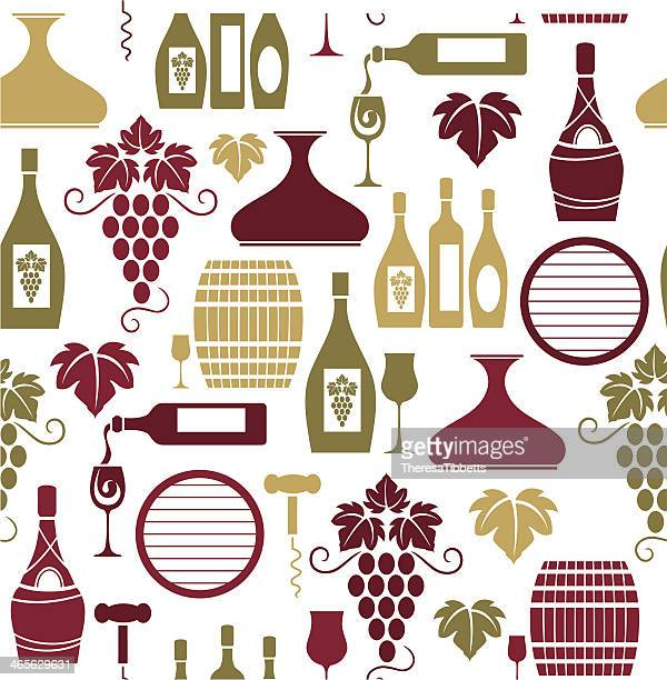 wine repeat pattern - tuscany stock illustrations, clip art, cartoons, & icons