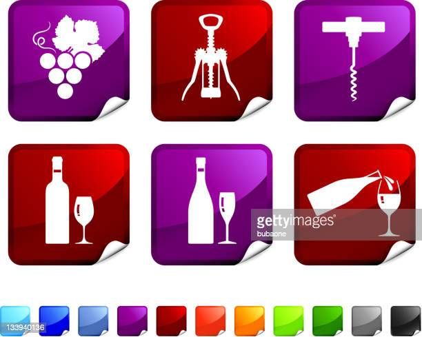 wine royalty free vector icon set stickers - mulled wine stock illustrations, clip art, cartoons, & icons