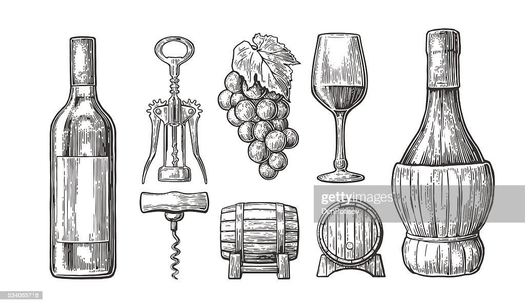 Wine set. Bottle, glass, corkscrew, barrel, bunch of grapes.