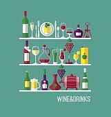 Wine set. Icons vector illustration.
