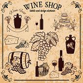 wine shop labels and design elements