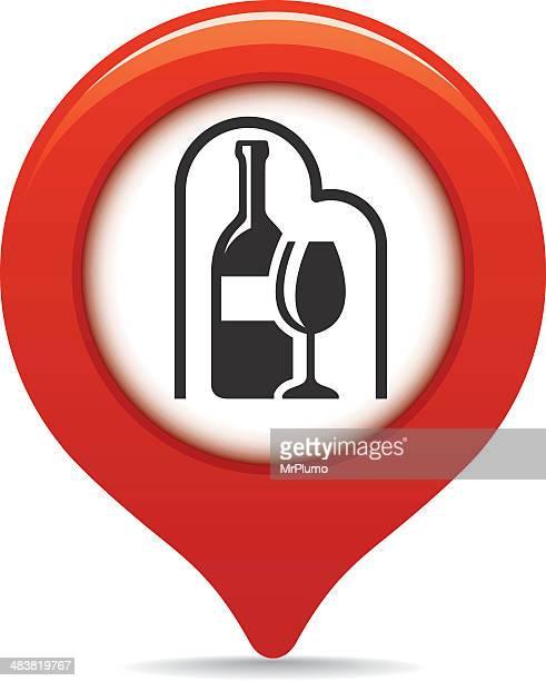 Loja de vinhos Ponteiro de mapa