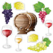 Wine stickers elements