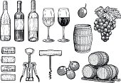 Wine stuff illustration, drawing, engraving, ink, line art, vector