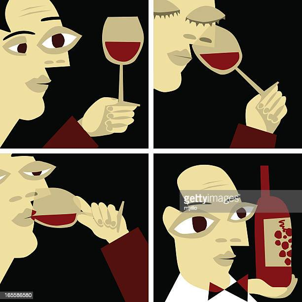 wine taste, sommelier vino gourmet illustration vector - red wine stock illustrations, clip art, cartoons, & icons