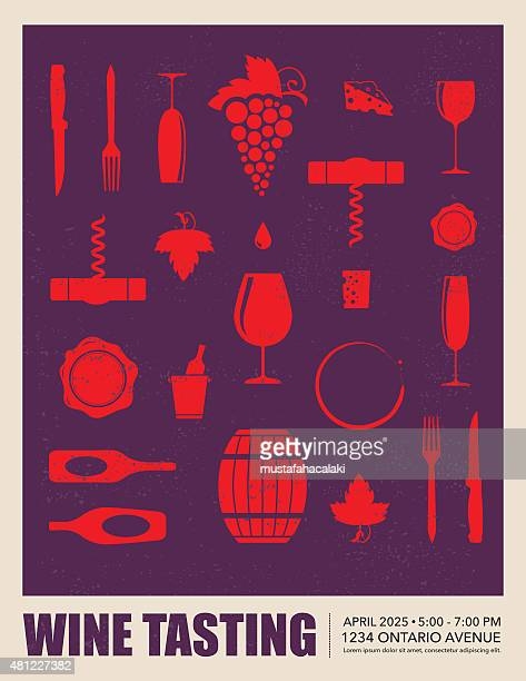 stockillustraties, clipart, cartoons en iconen met wine tasting event poster - food and drink