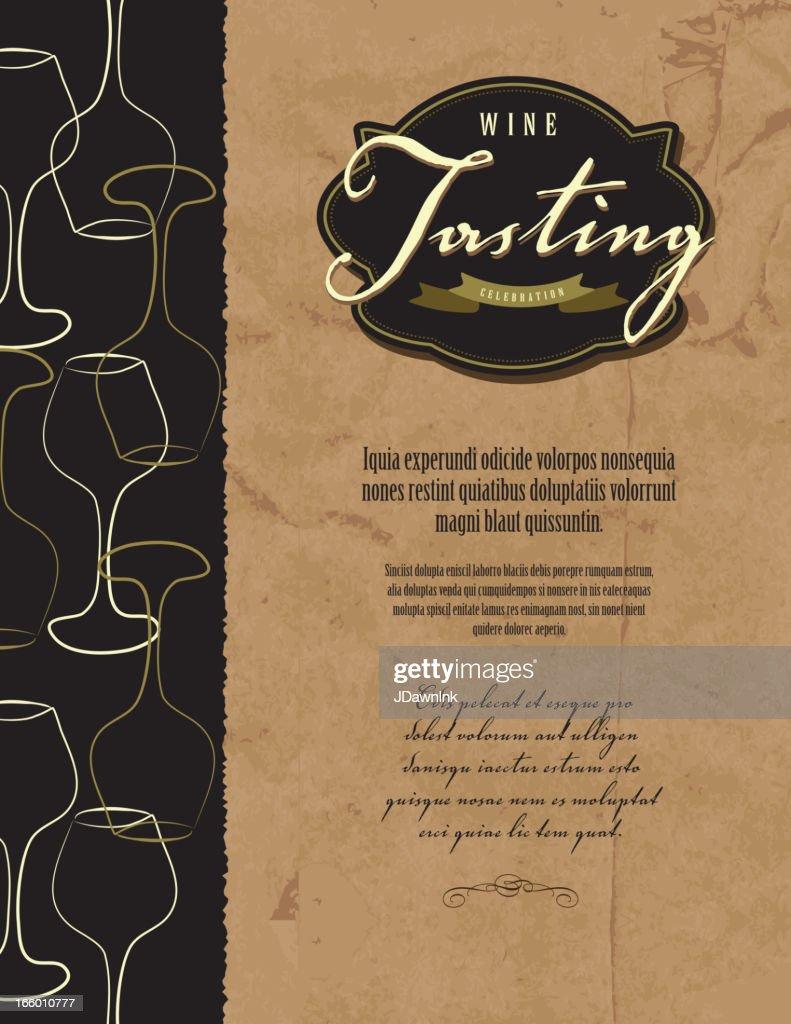 Wine Tasting Invitation Or Menu Design Template High Res Vector