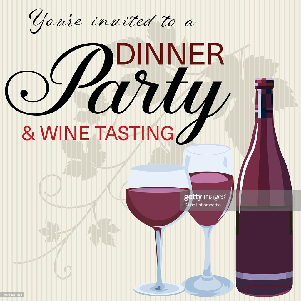 Wine Tasting Party Invitation On A Striped Background Vector Art ...