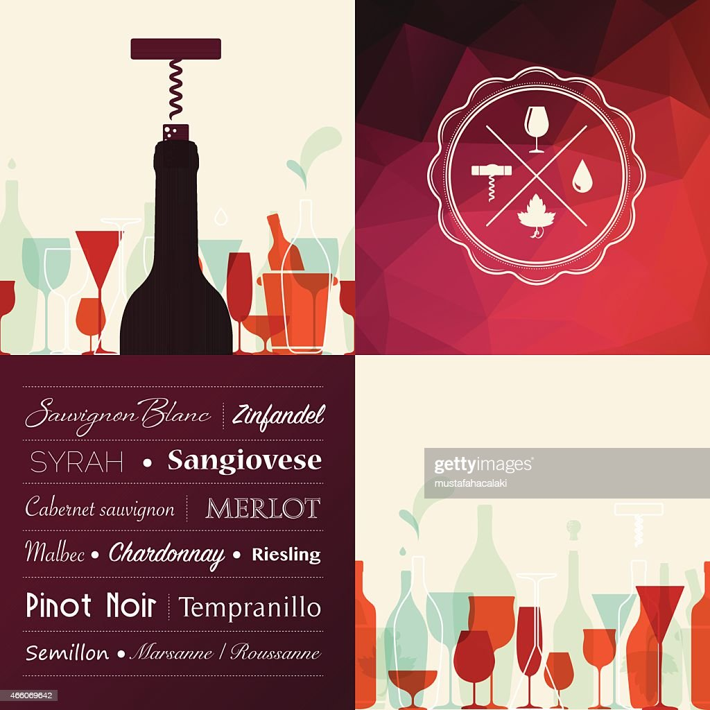 Wine types background with icons